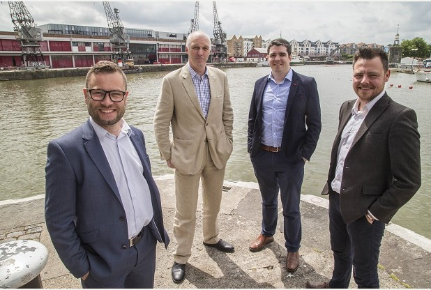 Several local firms have teamed up to bring ultra fast broadband to Bristol from left: Paul Anslow (Triangle Networks), Paul Brown (MHI), Lee Watts (Layered Technologies) and Bob Irwin (Triangle Networks) date:07.07.2016 photographer:James Beck/freelance